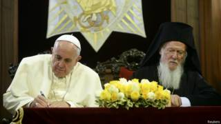Папа римский и Вселенский патриарх подписывают совместное заявление