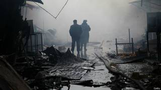 Место боя на рынке в Грозном