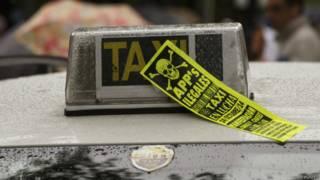 Panfleto de protesta de taxis en Madrid