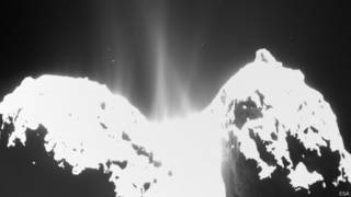 струи пара над кометой