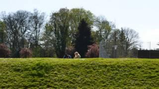 同學們在學校主樓後面修整漂亮的草地上聊著天