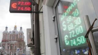 Precio del rublo frente al euro y dolar