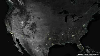 Imagen satelital nocturna de Estados Unidos.