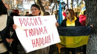 Проукраинский митинг в Тбилиси в декабре 2014 г.
