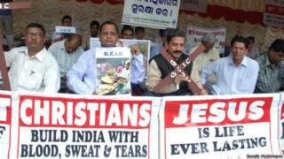 ओडिशा में इसाई समुदाय की ओर से किया गया विरोध प्रदर्शन