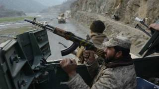 Afghan security forces on an operation in Dangam district, Kunar province, near the Pakistani border, 3 January