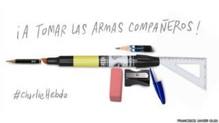 Caricatura del chileno Francisco Javier Olea en respuesta al ataque en París