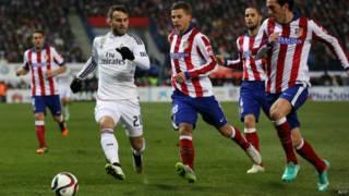 لقطة من مباراة أتليتكو مدريد وريال مدريد