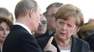 Владимир Путин и Ангела Меркель в Нормандии