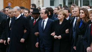 Лидеры стран на марше
