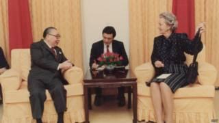 蔣經國1986年接見美國《華盛頓郵報》發行人葛蘭姆女士(國民黨黨史館提供)