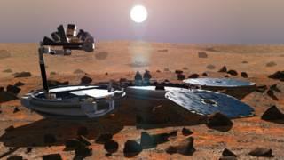 Impresión artística de Beagle 2 sobre la superficie de Marte