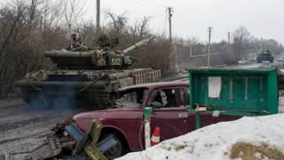 Украинский танк под Донецком