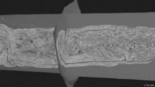 صورة لصحائف فيزوف بالأشعة السينية