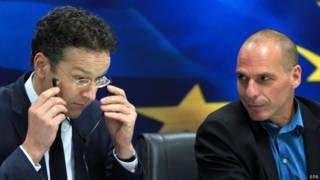 Министр финансов Греции Янис Варуфакис (справа) и глава Еврогруппы Йерун Дейсселблум
