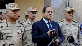 Президент Египта Абдель Сиси в окружении генералов