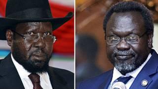 Salva Kiir (à gauche) et Riek Machar, les deux rivaux de la politique soudanaise.