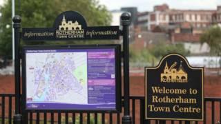 Cartel informativo en Rotherham