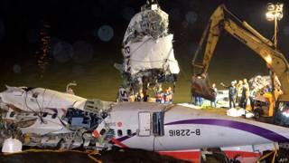 दुर्घटनाग्रस्त विमान के मलबे को नदी से बाहर निकालती क्रेन