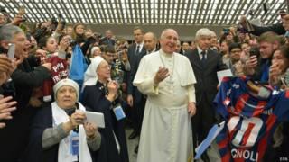 Папа Франциск во время аудиенции