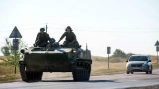 Российский бронетранспортер в Ростовской области
