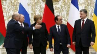 मिंस्क में शांति समझौते के पहले चार देशों के नेता