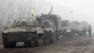 Украинские военные на трассе Артемовск-Дебальцево