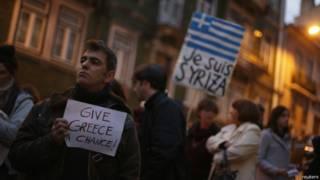Manifestación pidiendo ayuda a Grecia
