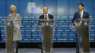 Representantes del FMI, y de la Unión Europea
