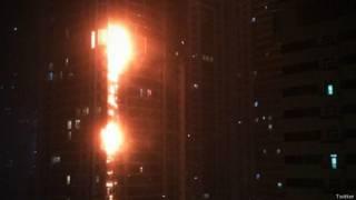 Fogo na Marina Torch em Dubai / Crédito: Reprodução Twitter