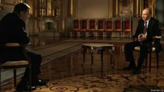 Владимир Путин и Владимир Соловьёв в студии