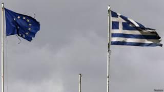 Флаги ЕС и Греции