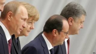 Путин, Олланд, Меркель, Порошенко