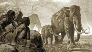 Dibujo de una escena de caza de un neandertal