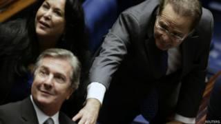 Líder del Senado brasileño, Renan Calheiros, junto al expresidente Fernando Collor.
