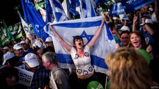 Manifestantes antigubernamentales en Tel Aviv.