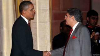 अमरीकी राष्ट्रपति के साथ विनोद मेहता