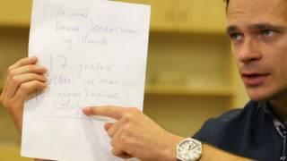 Илья Яшин демонстрирует записку Бориса Немцова