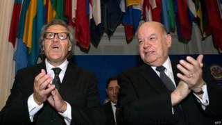 Luis Almagro y José Miguel Insulza