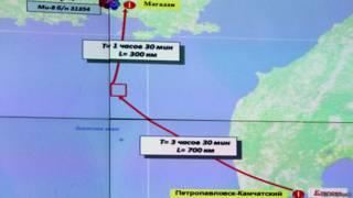 """Карта Охотского моря с указанием места кораблекрушения траулера """"Дальний Восток"""""""