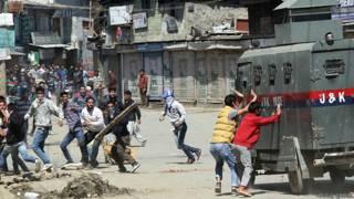 श्रीनगर में प्रदर्शन