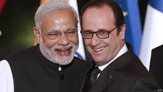 फ्रांसीसी राष्ट्रपति के साथ मोदी