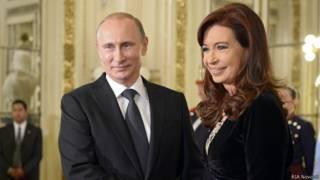 Владимир Путин и президент Аргентины Кристина Киршнер в Буэнос-Айресе  12 июля 2014 г.
