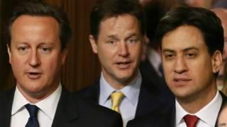 Lãnh tụ ba đảng chính tại Anh: David Cameron, Ed Miliband, Nick Clegg