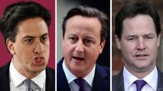 Lãnh tụ ba đảng chính tại Anh, ông Ed Miliband, David Cameron và Nick Clegg