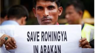 羅興亞難民2015年3月在馬來西亞抗議要求幫助