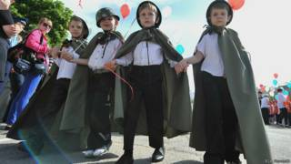 Дети во время парада дошкольных войск