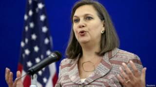 Помощник госсекретаря США Виктория Нуланд на пресс-конференции после переговоров в Москве, 18 мая 2015 г.
