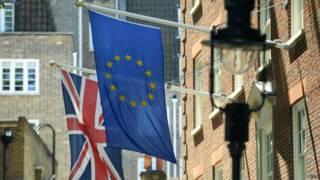 Флаги Великобритании и Евросоюза в Лондоне