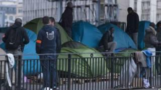 مخيم للاجئين الافارقة